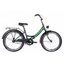 """Велосипед 24"""" Formula SMART с фонарём 2021 (черно-зеленый (м)) Formula OPS-FR-24-249"""