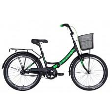 """Велосипед 24"""" Formula SMART с корзиной 2021 (черно-зеленый (м)) Formula OPS-FR-24-244"""