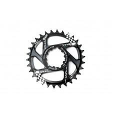 Велосипедная звезда-неспадайка к шатуну NW алюминиевые 34T GXP (SRAM) offset 6mm SNAIL (черный) SPR-062