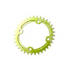 Велосипедная звезда-неспадайка к шатуну NW алюминиевые 34T овал BCD 104 SNAIL (зеленый) SPR-052