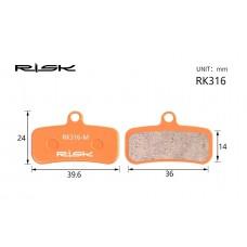 Велосипедные тормозные колодки полуметалл disc RISK RK316-S SAINT M810、M820、ZEE M640、TRP Quadiem BRS-033