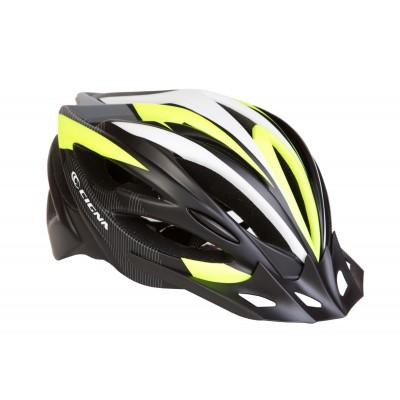 Шлем велосипедный с козырьком CIGNA WT-068 черно-красный (черно-бело-салатный) HEAD-015