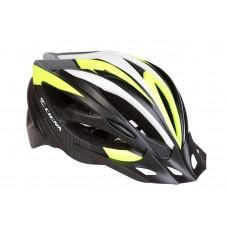 Шлем велосипедный с козырьком CIGNA WT-068 черно-красный (черно-бело-салатный) HEAD-016