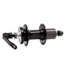 Велосипедная втулка задняя алюминиевая 36H под диск. SHUNFENG SF-A217R (черный) с эксцентр. промышленный подшипник под кассету 8-9-10 HUBR-AL-035