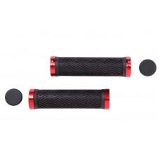 Велосипедные грипсы PVC L130mm с алюминиевым черным замком черно-красный Velo HL-G240 GRI-191