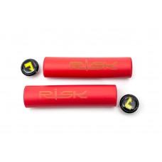 Велосипедные грипсы гелевые L130mm красный RISK Silica Gel GRI-221